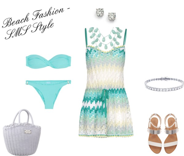 Missoni Mare swim suit cover up / Melissa Odabash bikini two piece / Zara shoes / Kate Spade / Saks Fifth Avenue jewelry / Lola Rose multi chain necklace, $440