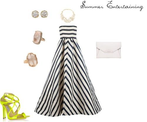 Oscar de la Renta a line dress / Jimmy Choo shoes / Givenchy / Hoorsenbuhs yellow gold diamond earrings / Lucifer Vir Honestus / Rose ring, $5,125 / C. Wonder c wonder
